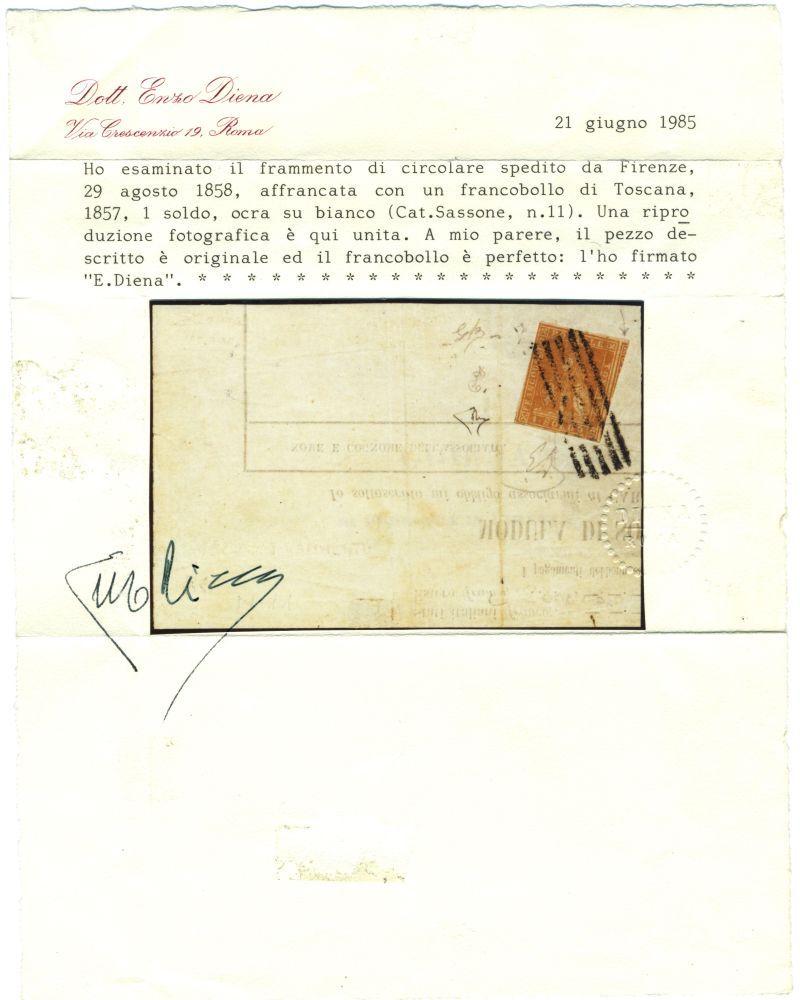 italy tuscany 1858 1s on rare notice fragment sas 11 cv  14000