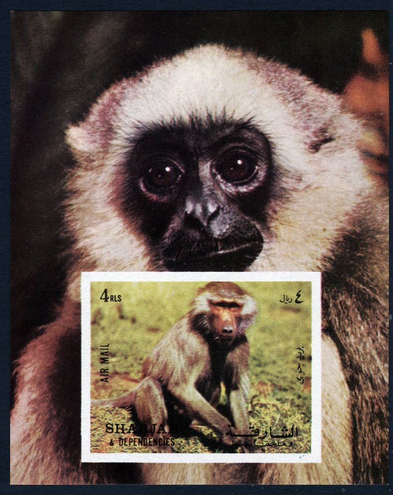 sharjah 1972 souvenir sheet monkeys mnh mi cv  6 05 180114069